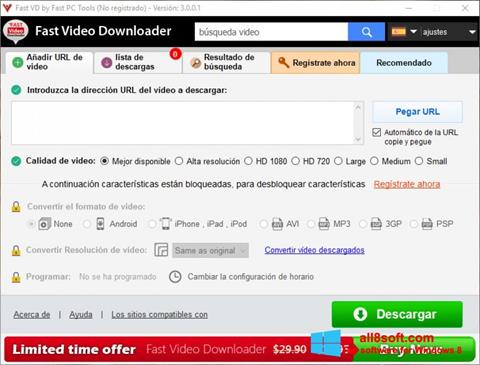 Снимак заслона Fast Video Downloader Windows 8