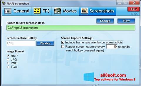 Снимак заслона Fraps Windows 8