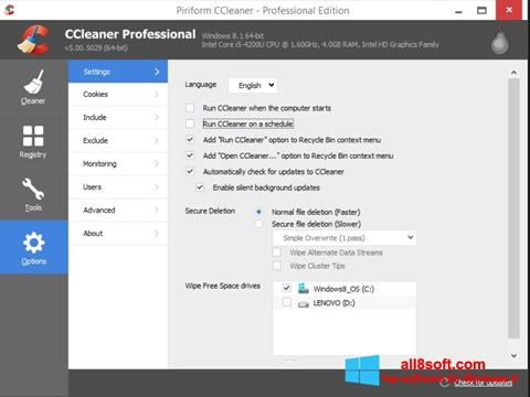 Снимак заслона CCleaner Windows 8
