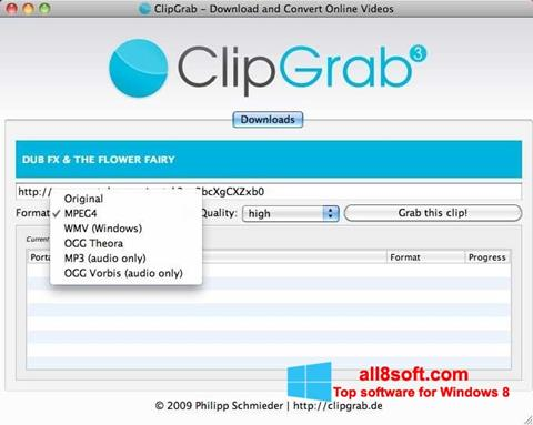 Снимак заслона ClipGrab Windows 8
