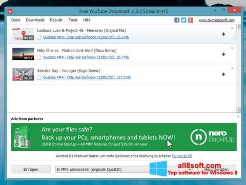 Снимак заслона Free YouTube Download Windows 8
