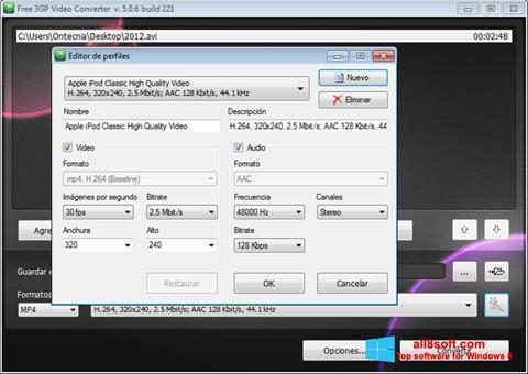 Снимак заслона Free MP4 Video Converter Windows 8