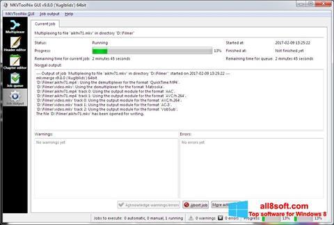 Снимак заслона MKVToolnix Windows 8