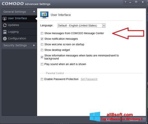 Снимак заслона Comodo Windows 8