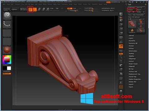 Снимак заслона ZBrush Windows 8