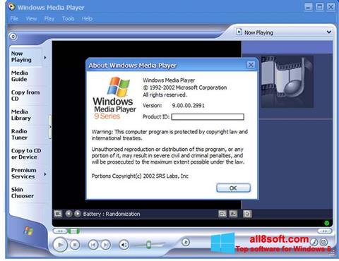 Снимак заслона Windows Media Player Windows 8
