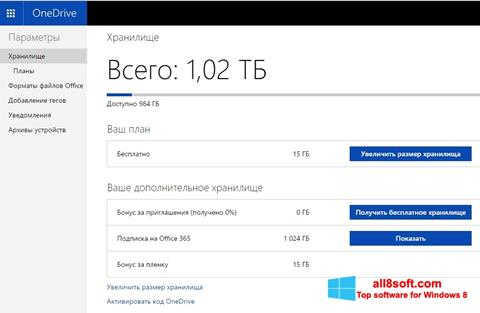 Снимак заслона OneDrive Windows 8