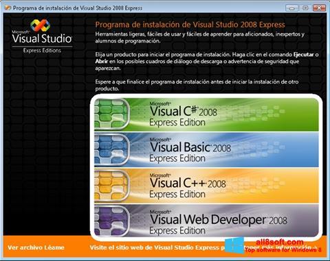 Снимак заслона Microsoft Visual Studio Windows 8